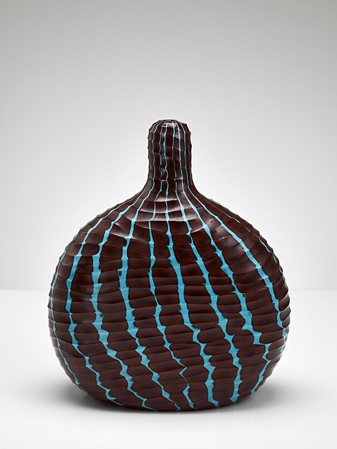 Battuto brown and blue carved  2005