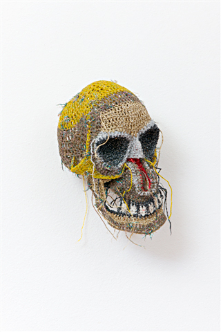 Skull 2007  18 x 16 cm, cotton, lurex, resin